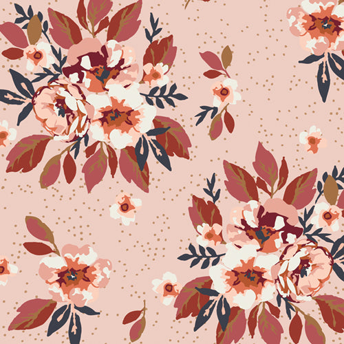 Rose coloured background  splattered with dots and with clusters of Cream, peach, and dark rose coloured flowers