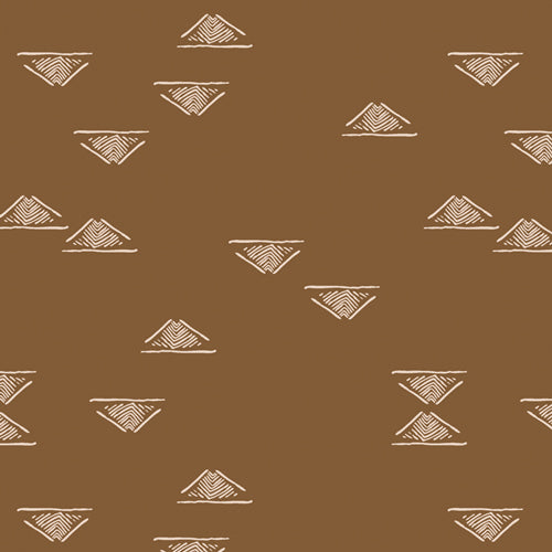Brown background with line drawn triangles