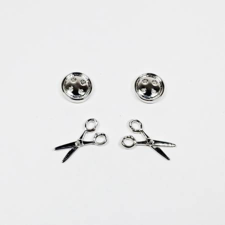 Button & Scissors Earring Set of 2 Silver
