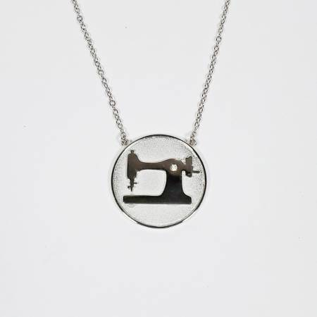 Sewing Machine Coin Necklace Silver