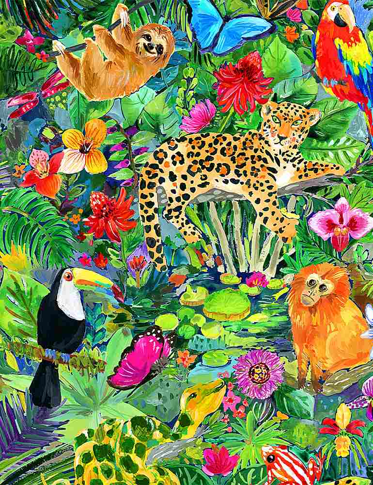 Jungle scene with leopards, toucans, sloths, and monkeys