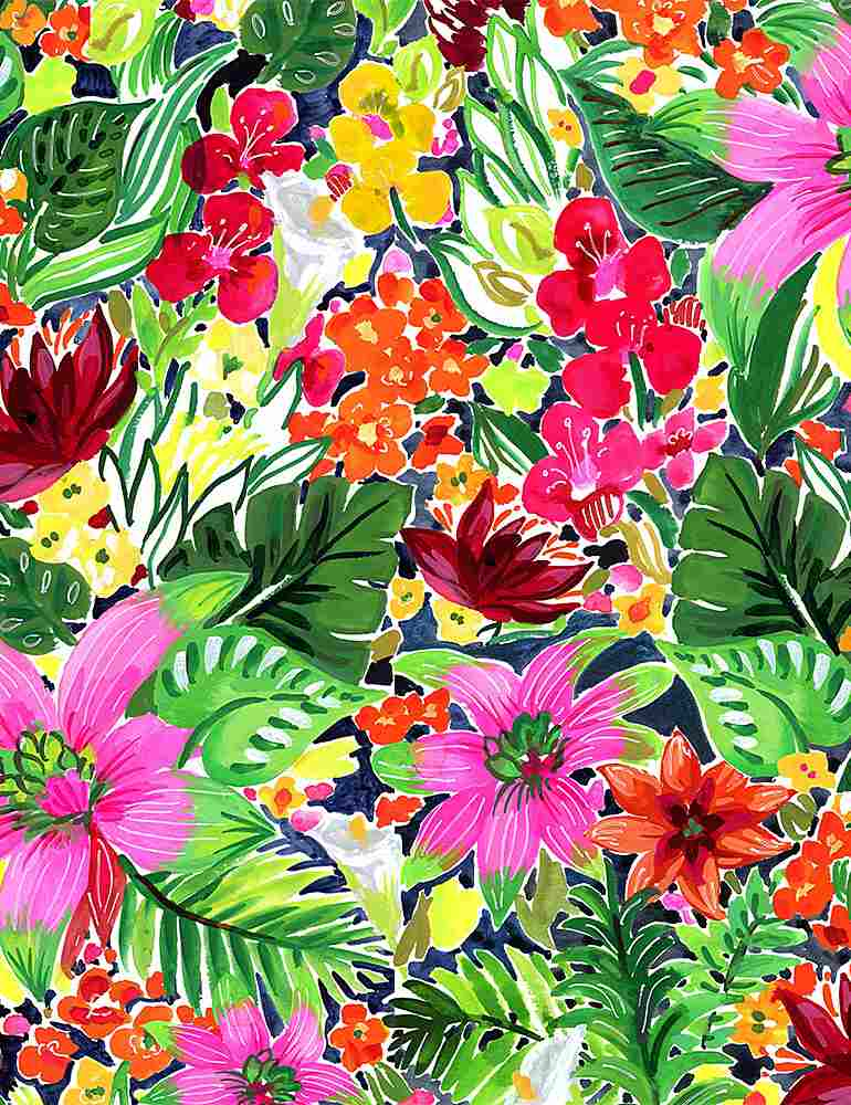 Bright hibiscus and tropical flowers and greenery