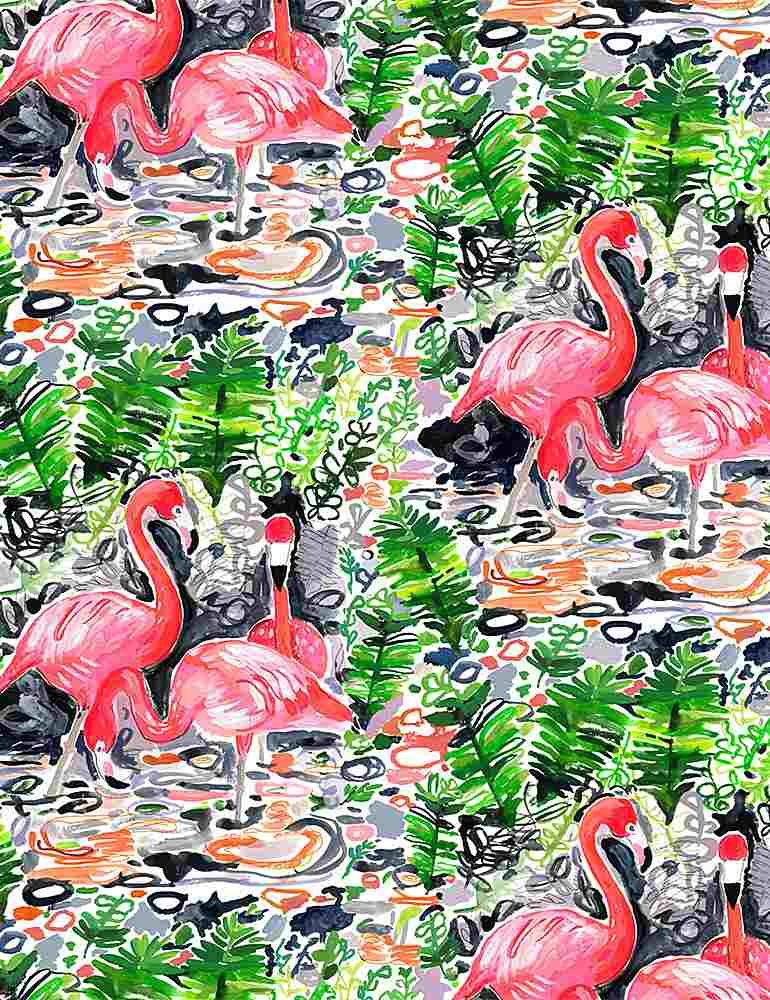 Pink Flamingos walking in water surrounded by greenery