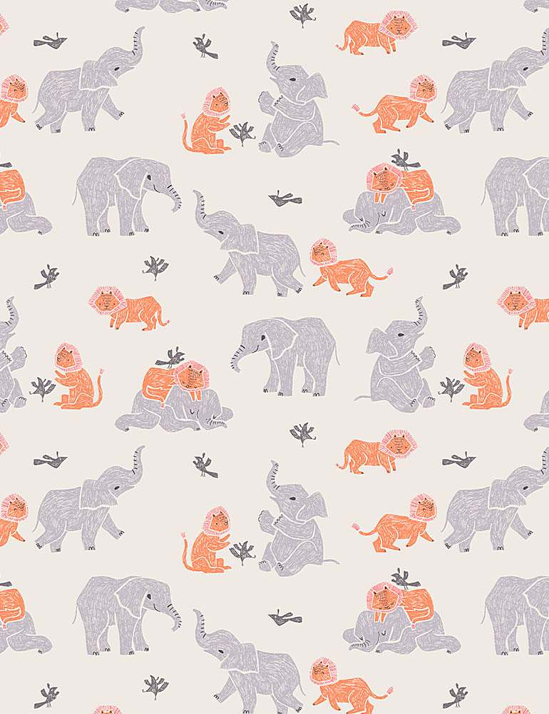 Lions and elephants playing
