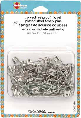 Curved Safety Pins - 38mm (11⁄2″) - 60pcs