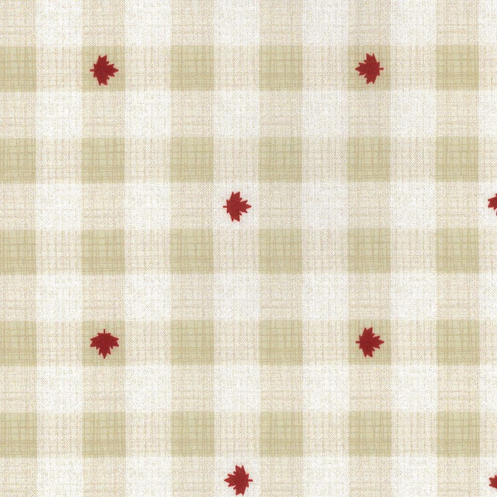 Checkered cream and tan with dispersed red maple leaves