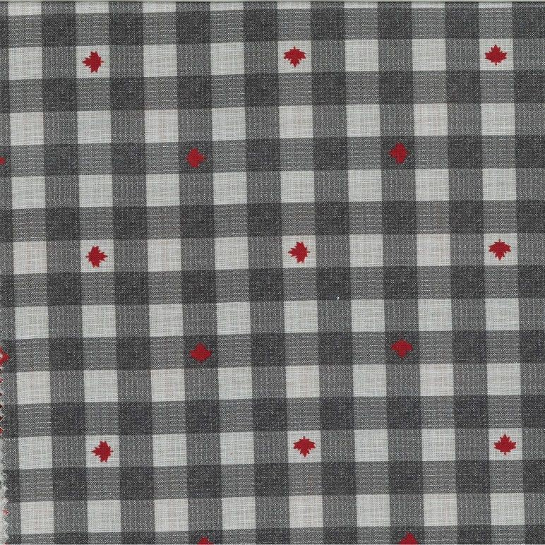 Checkered light and dark grey with dispersed red maple leave