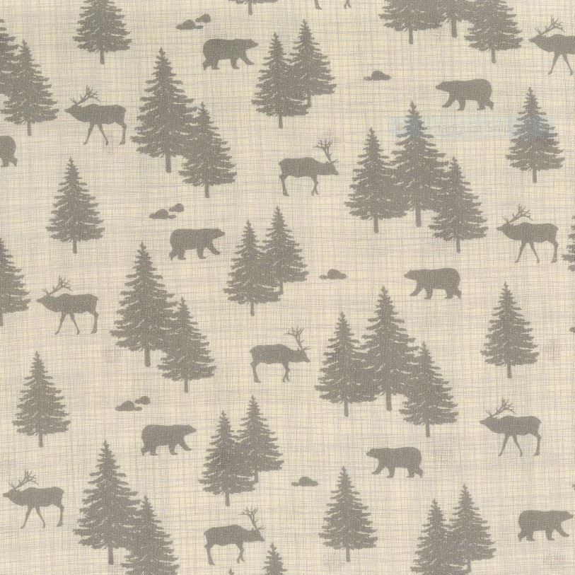 Grey spruce trees, caribou, and bears on a cream background