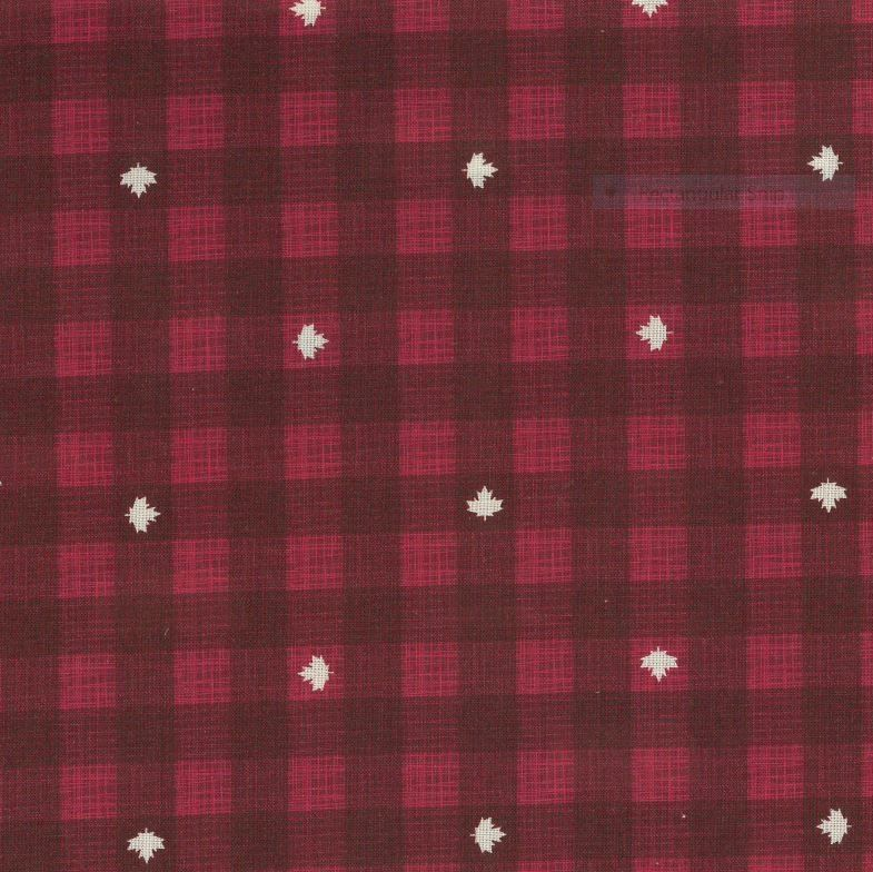 Red Checkered with dispersed white maple leaves