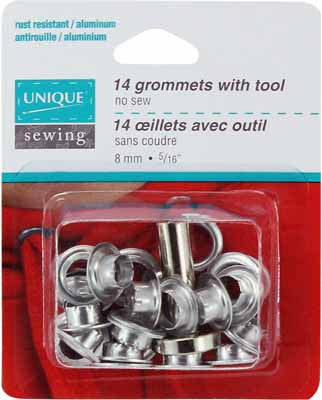 Grommets Silver with Tool - 8mm (5⁄16″) - 14 pcs