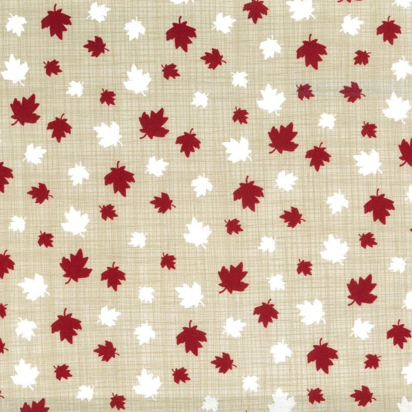 White and red maple leaves on a cream background
