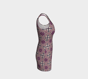 The Adriana Fitted Dress in Pink-Clash Patterns