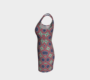 The Adriana Fitted Dress in Tricolour-Clash Patterns