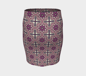 The Adriana Fitted Skirt in Pink-Clash Patterns