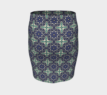 Load image into Gallery viewer, The Adriana Fitted Skirt in Purple and Green-Clash Patterns