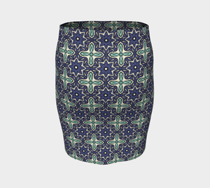 The Adriana Fitted Skirt in Purple and Green-Clash Patterns