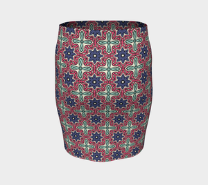 The Adriana Fitted Skirt in Tricolour-Clash Patterns