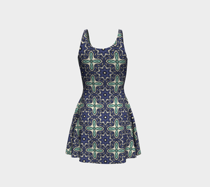 The Adriana Flare Dress in Purple and Green-Clash Patterns