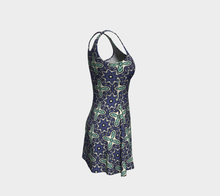 Load image into Gallery viewer, The Adriana Flare Dress in Purple and Green-Clash Patterns
