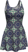 Load image into Gallery viewer, The Adriana Flare Dress in Purple and Green