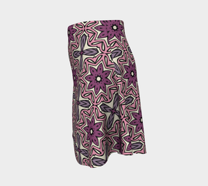 The Adriana Flare Skirt in Pink-Clash Patterns