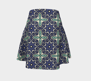 The Adriana Flare Skirt in Purple and Green-Clash Patterns