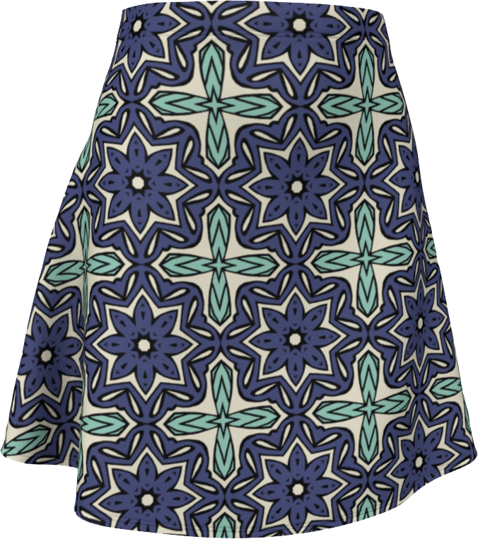 The Adriana Flare Skirt in Purple and Green