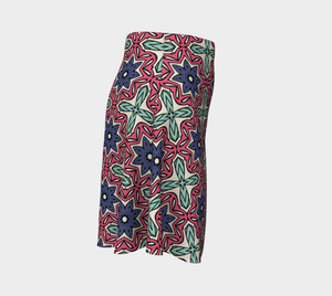 The Adriana Flare Skirt in Tricolour-Clash Patterns