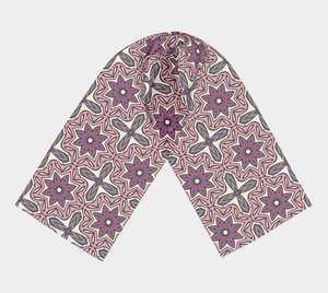 The Adriana Long Scarf in Pink-Clash Patterns