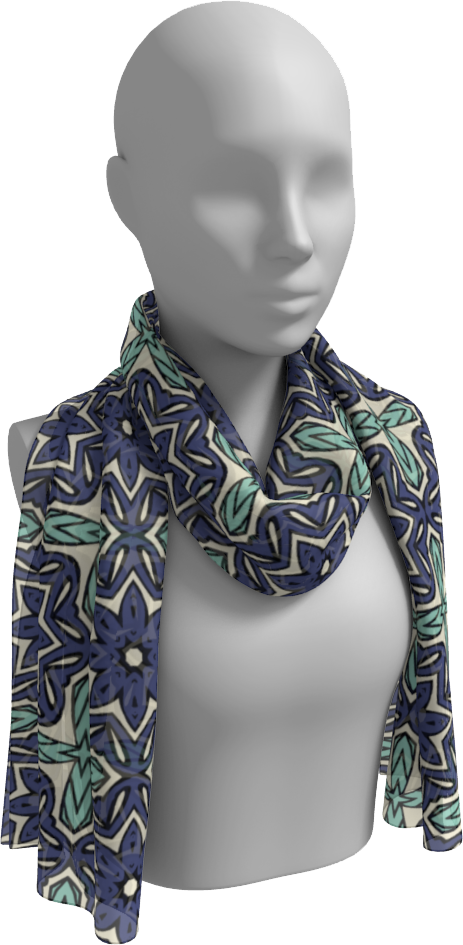 The Adriana Long Scarf in Purple and Green-Long Scarf-Clash Patterns by Jennifer Akkermans