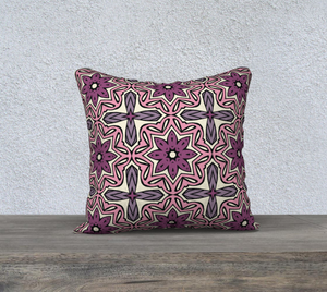 The Adriana Reversible Pillow in Pink-Clash Patterns