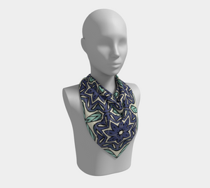 The Adriana Square Scarf in Purple and Green-Clash Patterns