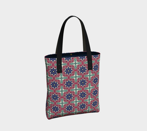 The Adriana Tote Bag in Tricolour-Clash Patterns