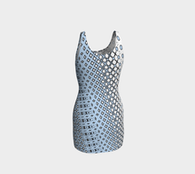 Load image into Gallery viewer, The Amanda Fitted Dress in Blue and White-Clash Patterns