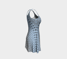 Load image into Gallery viewer, The Amanda Flare Dress in Blue and White-Clash Patterns