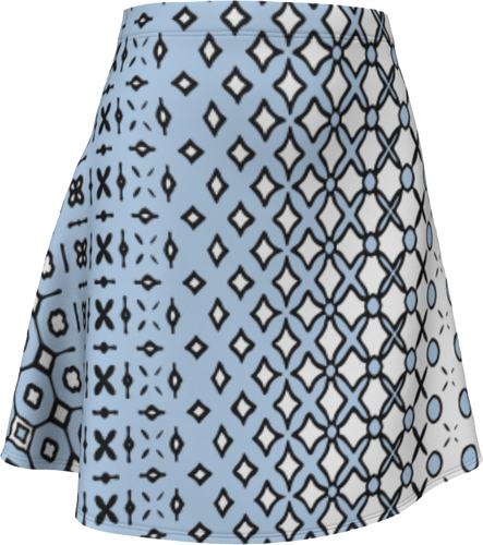 The Amanda Flare Skirt in Blue and White-Flare Skirt-Clash Patterns by Jennifer Akkermans