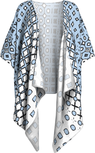 The Amanda Kimono in Blue and White-Draped Kimono-Clash Patterns by Jennifer Akkermans