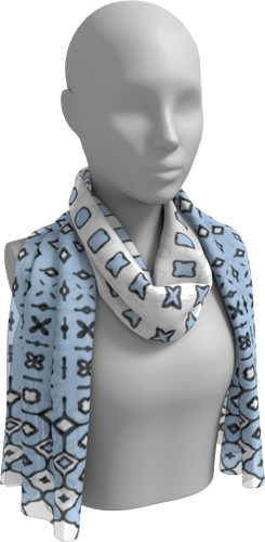 The Amanda Long Scarf in Blue and White-Long Scarf-Clash Patterns by Jennifer Akkermans