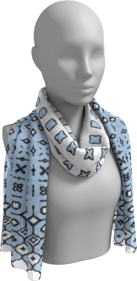 The Amanda Long Scarf in Blue and White