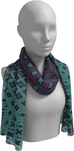 The Amanda Long Scarf in Purple and Green-Long Scarf-Clash Patterns by Jennifer Akkermans