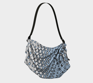 The Amanda Origami Bag in Blue and White-Clash Patterns