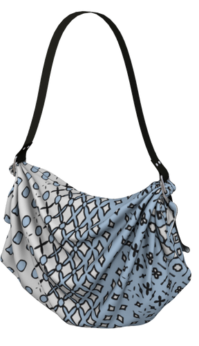 The Amanda Origami Bag in Blue and White-Origami Tote-Clash Patterns by Jennifer Akkermans