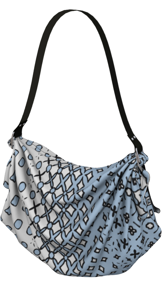 The Amanda Origami Bag in Blue and White
