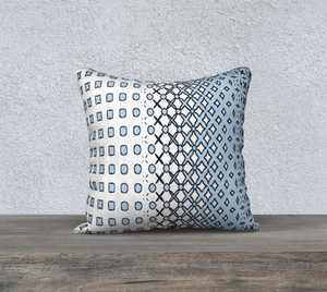 The Amanda Reversible Pillow in Blue and White-Clash Patterns