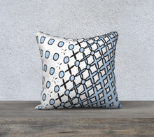 Load image into Gallery viewer, The Amanda Reversible Pillow in Blue and White-Clash Patterns