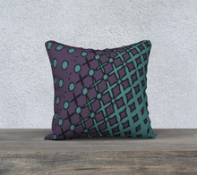 Load image into Gallery viewer, The Amanda Reversible Pillow in Purple and Green-Clash Patterns