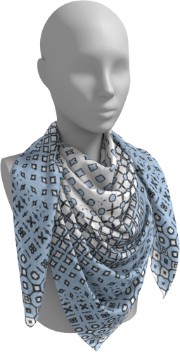 The Amanda Square Scarf in Blue and White-Square Scarf-Clash Patterns by Jennifer Akkermans