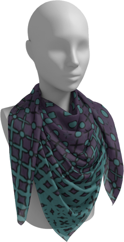The Amanda Square Scarf in Purple and Green-Square Scarf-Clash Patterns by Jennifer Akkermans