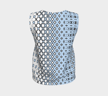 Load image into Gallery viewer, The Amanda Tank Top in Blue and White-Clash Patterns