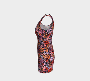 The Autumn Fitted Dress in Reds-Clash Patterns